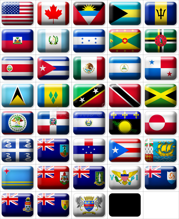 Flags of North America stock illustration