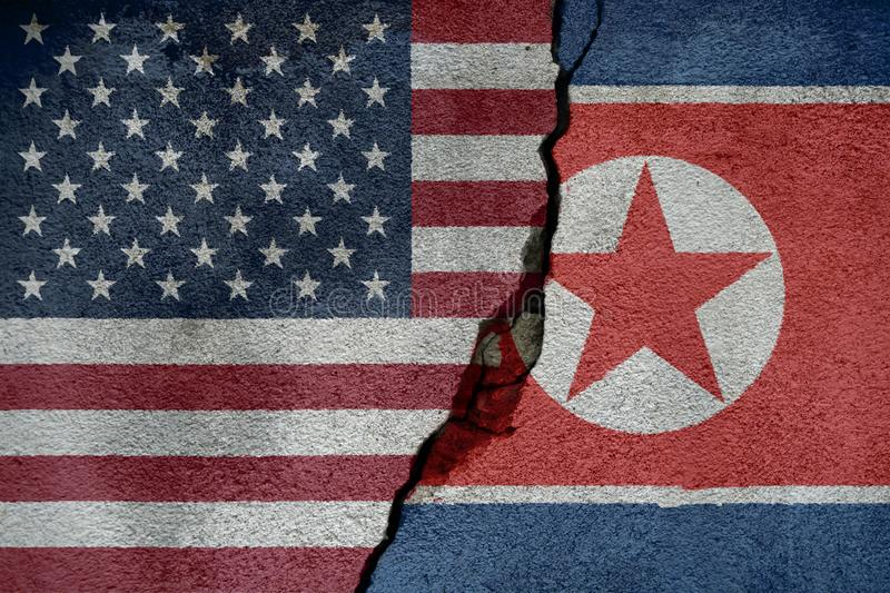 Flags of North Korea and United States of America that come together showing a concept that means trade, political or other relati. Onships between the two stock illustration