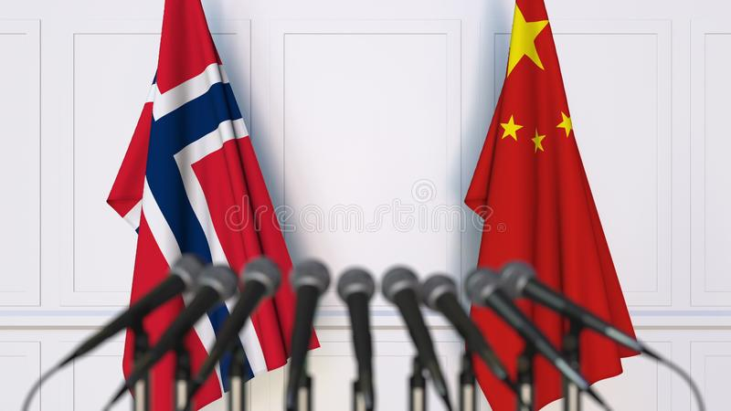 Flags of Norway and China at international meeting or conference. 3D rendering royalty free stock photos