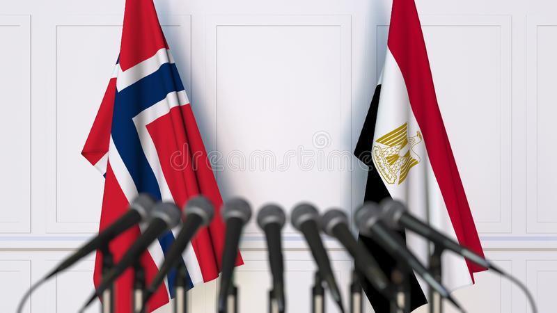 Flags of Norway and Egypt at international meeting or conference. 3D rendering stock image