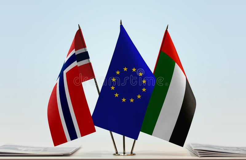 Flags of Norway EU and UAE. Desktop flags of Norway and UAE with European Union flag in the middle vector illustration
