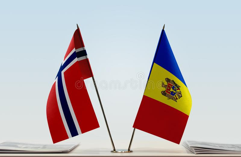 Flags of Norway and Moldova. Two table flags of Norway and Moldova royalty free stock photography