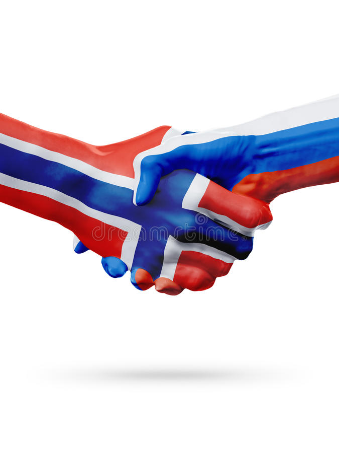 Flags Norway, Russia countries, partnership friendship handshake concept. Flags Norway, Russia countries, handshake cooperation, partnership, friendship or royalty free stock image