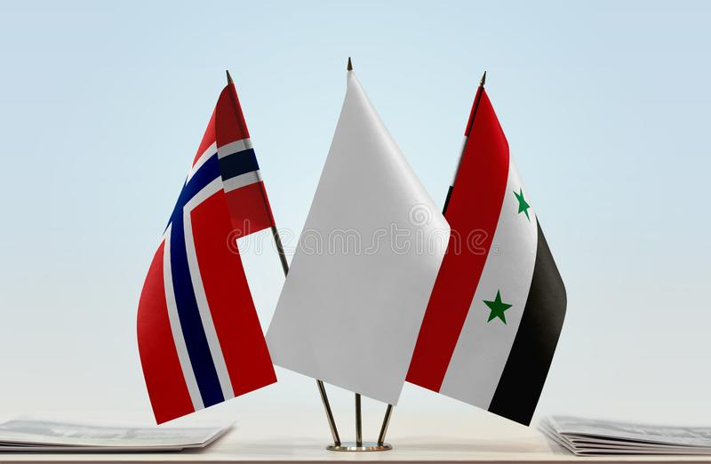 Flags of Norway and Syria royalty free stock image