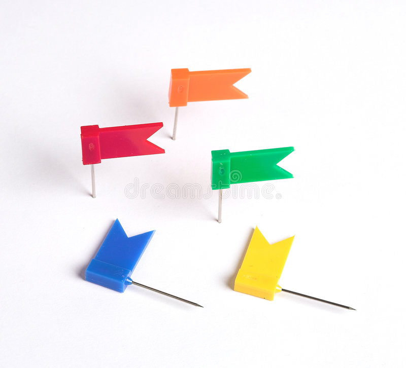 Flags for note. Varicolored flags for business note stock photos