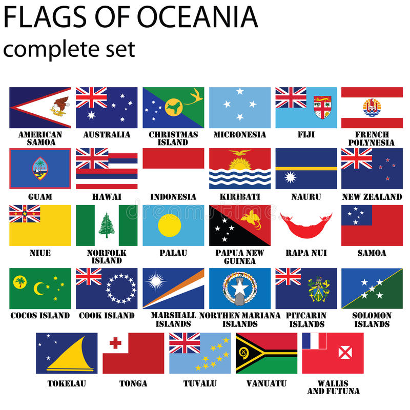 Flags Of Oceania Royalty Free Stock Photo