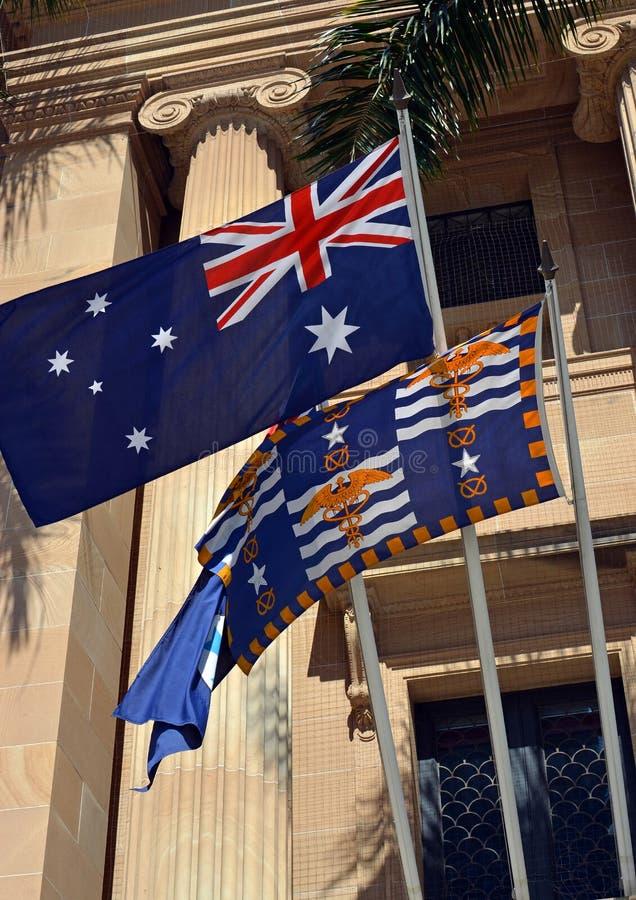 Flags Outside Brisbane City Hall, Queensland, Australia stock photos