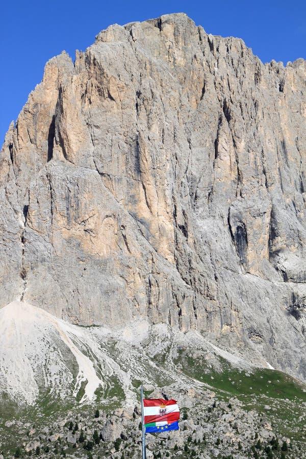Flags Upon The Passo Di Sella, Italian Dolomites Royalty Free Stock Photos
