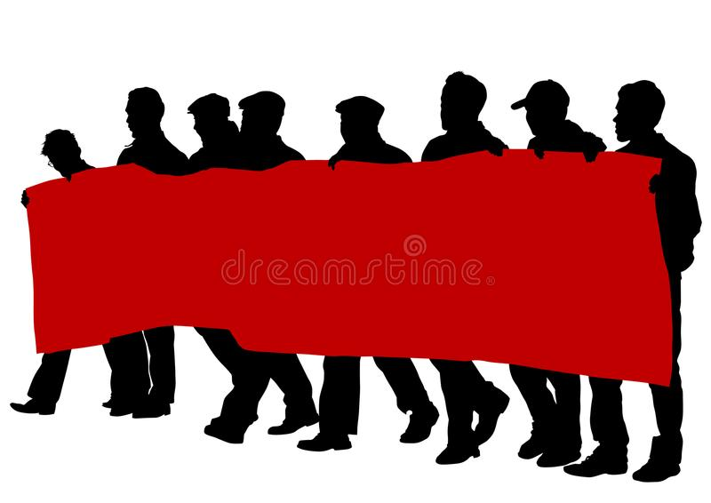 Flags people six. People of with large flags on white background vector illustration