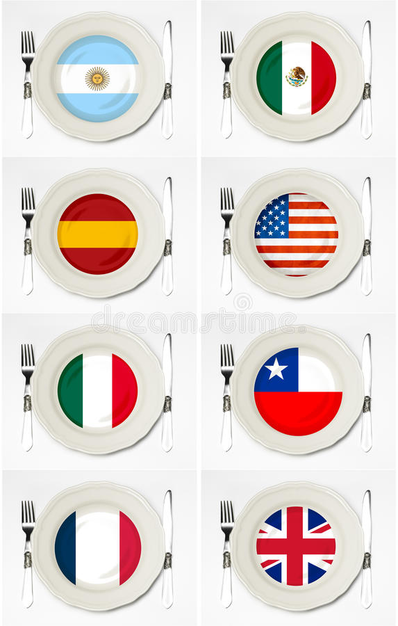 Flags on plates. With fork and knife vector illustration