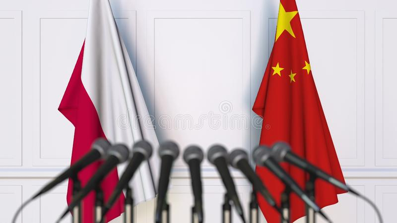 Flags of Poland and China at international meeting or conference. 3D rendering stock images