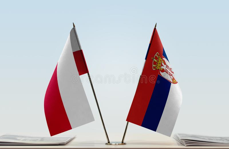 Flags of Poland and Serbia royalty free stock images