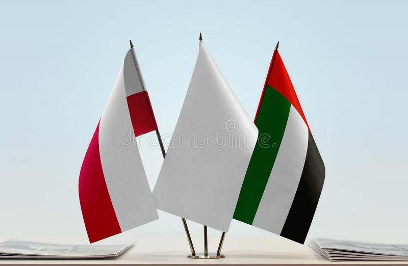 Flags of Poland and UAE royalty free stock photos