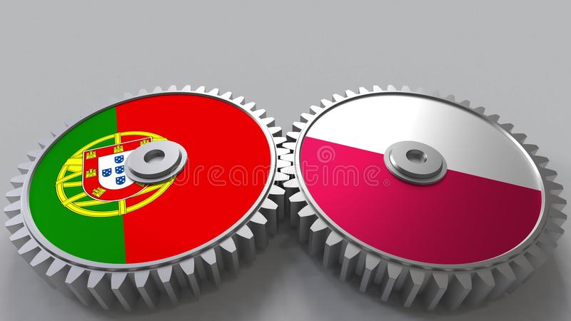 Flags of Portugal and Poland on meshing gears. International cooperation conceptual 3D rendering stock illustration