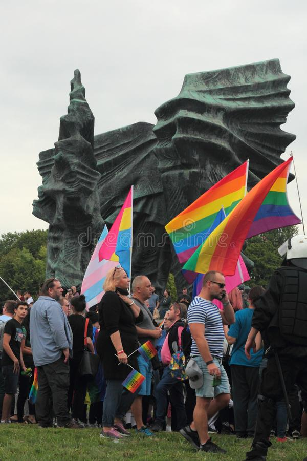 Flags during Pride in Katowice stock images