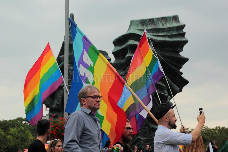 Flags during Pride in Katowice, Poland stock images