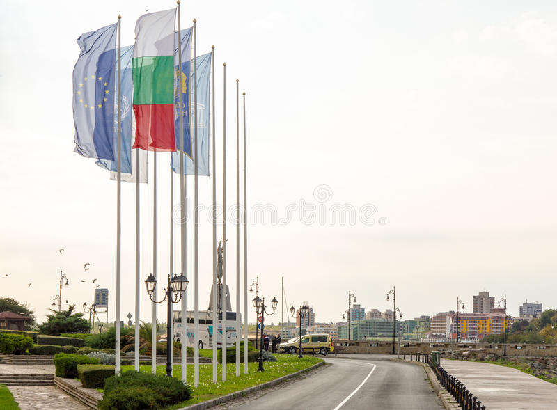 Flags on the promenade of the old town of Nessebar, Bulgaria stock photo