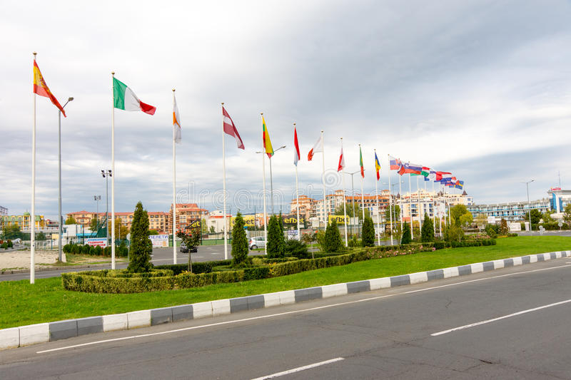 The flags of resort complex Sunny Beach, Bulgaria royalty free stock images
