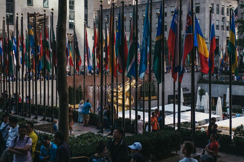Flags at the Rockefeller Plaza, New York, USA. Flags at the Rockefeller Plaza, New York. Plaza displays flags of United Nations member countries, the U.S stock photography