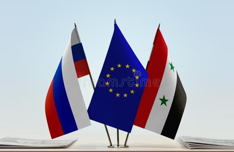 Flags of Russia EU and Syria. Desktop flags of Russia and Syria with European Union flag in the middle royalty free illustration