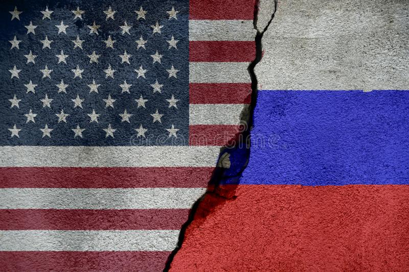 Flags of Russia and United States of America that come together showing a concept that means trade, political or other relationshi. Ps between the two nations royalty free illustration