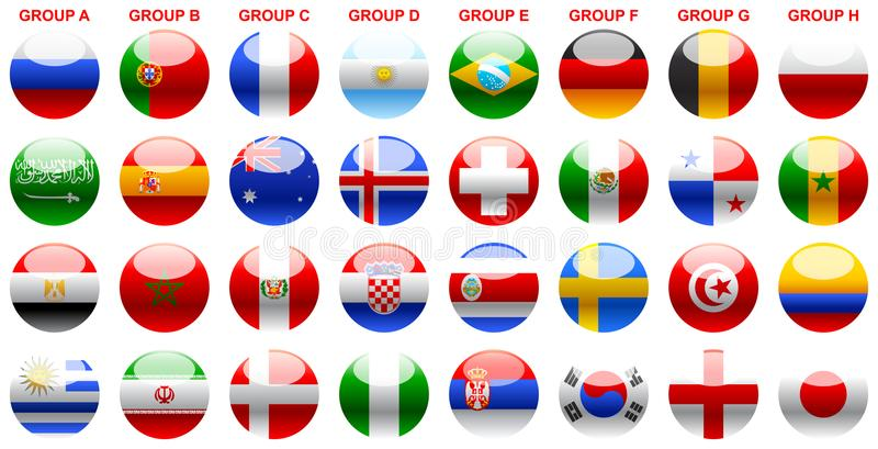 Flags s world cup soccer Russia 2018. World Cup 2018, World Cup Russia 2018, soccer buttons, flags, participants 2018 world cup, shields of countries stock illustration