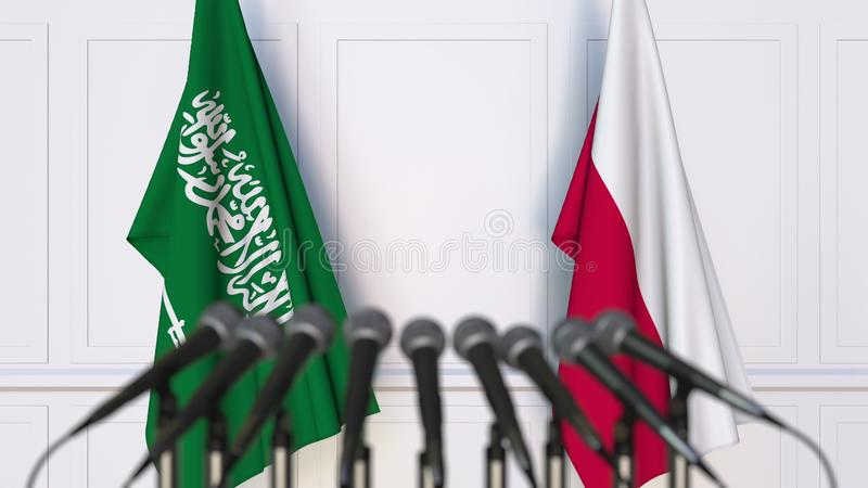 Flags of Saudi Arabia and Poland at international meeting or conference. 3D rendering royalty free illustration