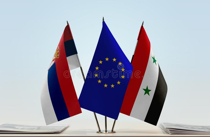 Flags of Serbia EU and Syria. Desktop flags of Serbia and Syria with European Union flag in the middle royalty free illustration