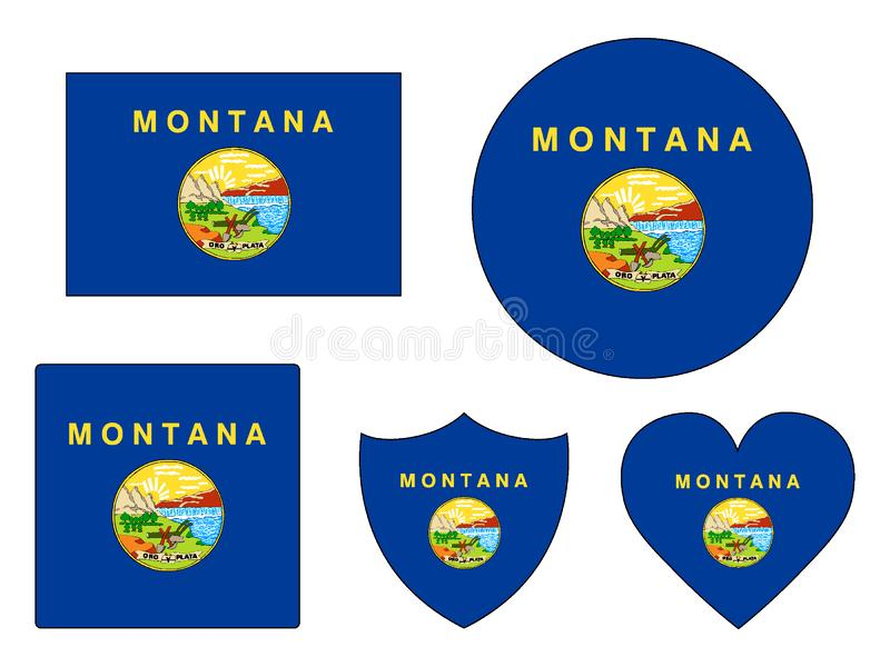 Flags Set of USA State of Montana royalty free stock images