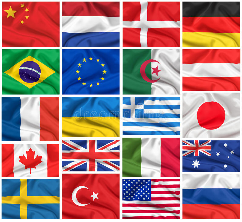Flags set: USA, United Kingdom, France, Brazil, Germany, Russia, Japan, Canada, Ukraine, Netherlands, Australia, Sweden, etc. royalty free stock images