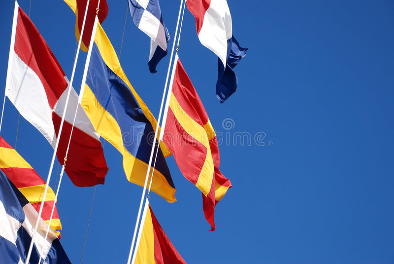Flags On A Ship Royalty Free Stock Photo