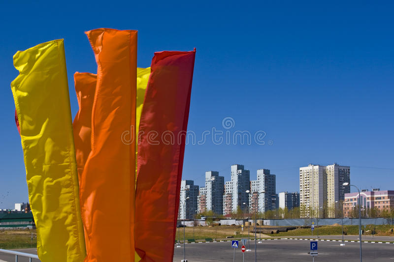 Flags skyline. Flags, wind and sky. Flags evolving in the wind royalty free stock photo
