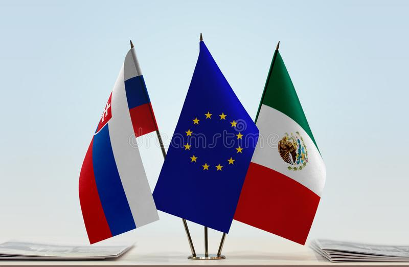 Flags of Slovakia EU and Mexico royalty free stock photos