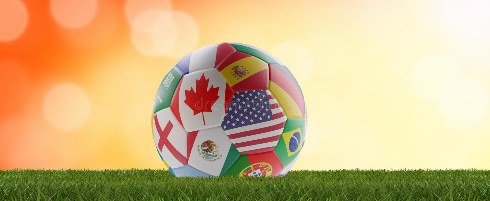 Flags soccer ball design with USA Canada and Mexico on orange background 3d-illustration vector illustration