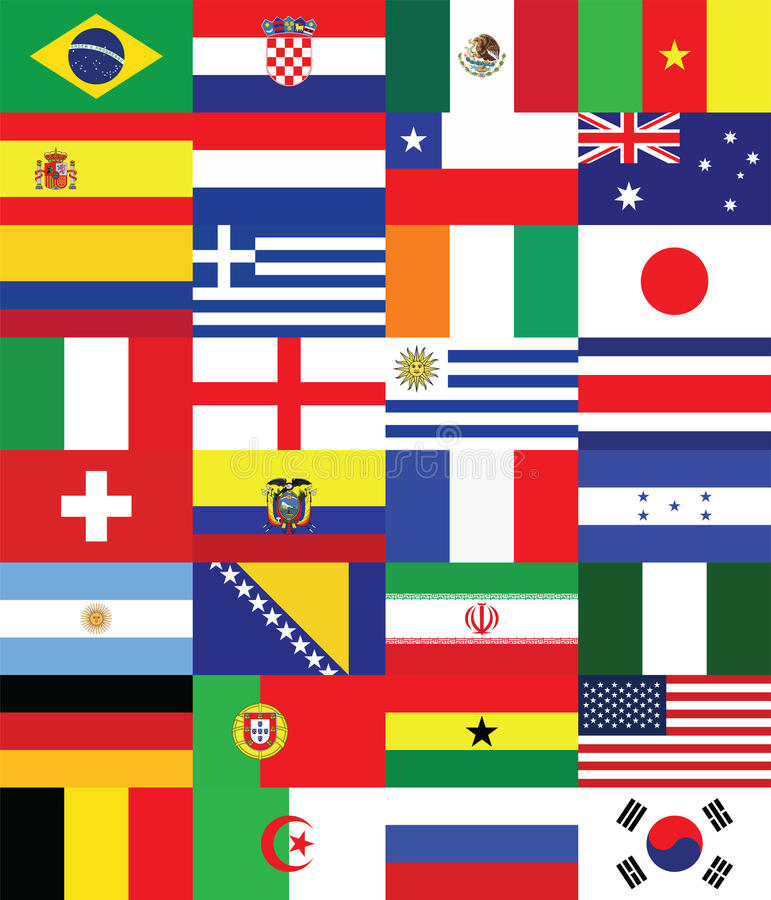Flags for soccer championship 2014 royalty free illustration