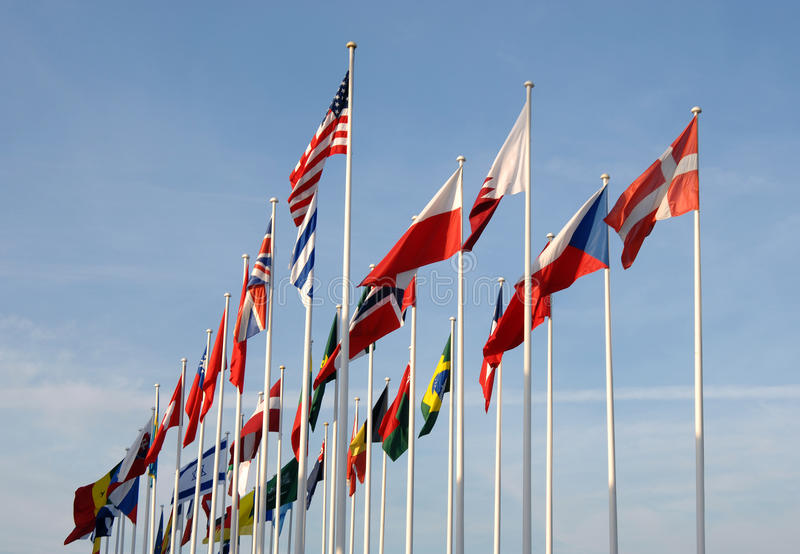 Flags of some countries waving. To the wind stock photos