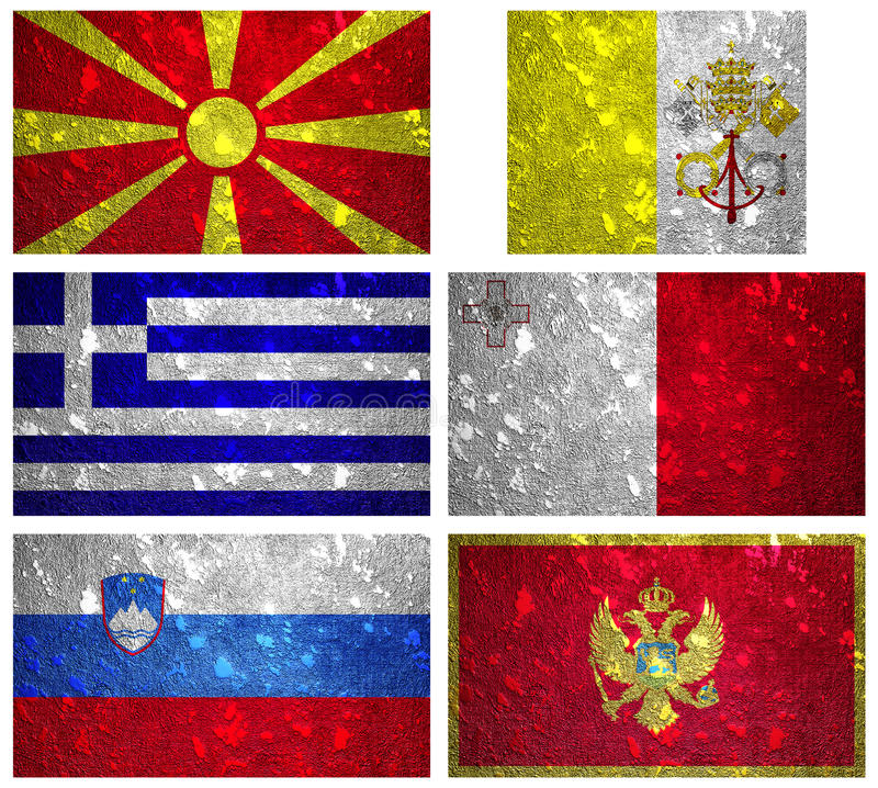 Flags of South Europe 2 stock photos