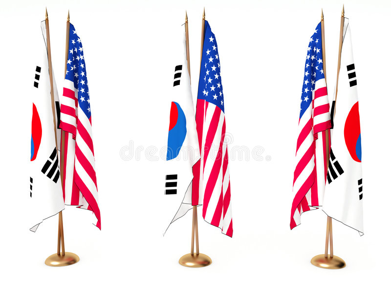 Download Flags Of South Korea And The United State Stock Illustration - Image: 7193978