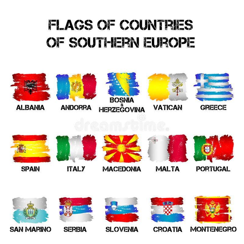 Flags of Southern Europe countries from brush strokes royalty free illustration