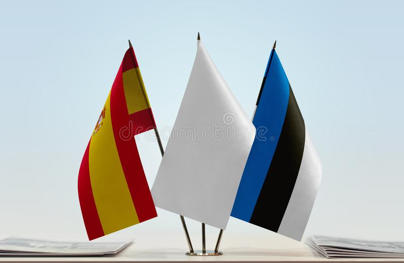 Flags of Spain and Estonia. Desktop flags of Spain and Estonia with a white flag in the middle vector illustration