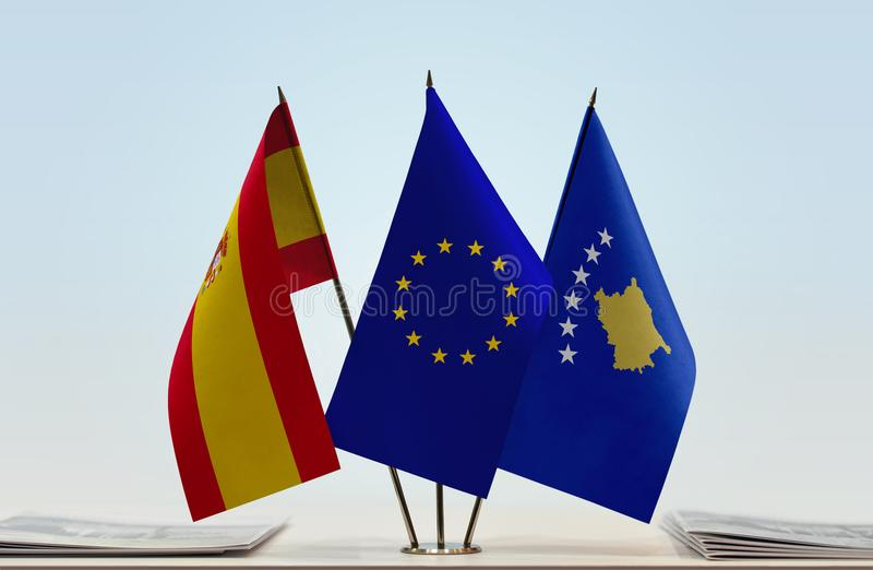 Flags of Spain European Union and Kosovo. Desktop flags of Spain European Union and Kosovo royalty free stock images