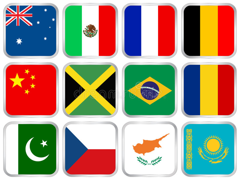 flags square icon set 2 royalty free illustration