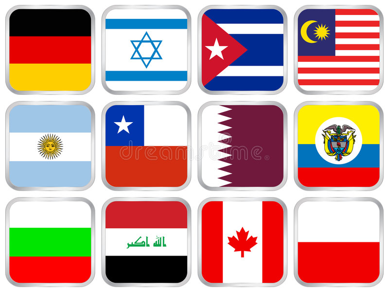 flags square icon set 4 vector illustration