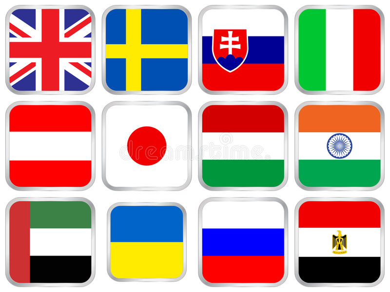 flags square icon set 5 royalty free illustration