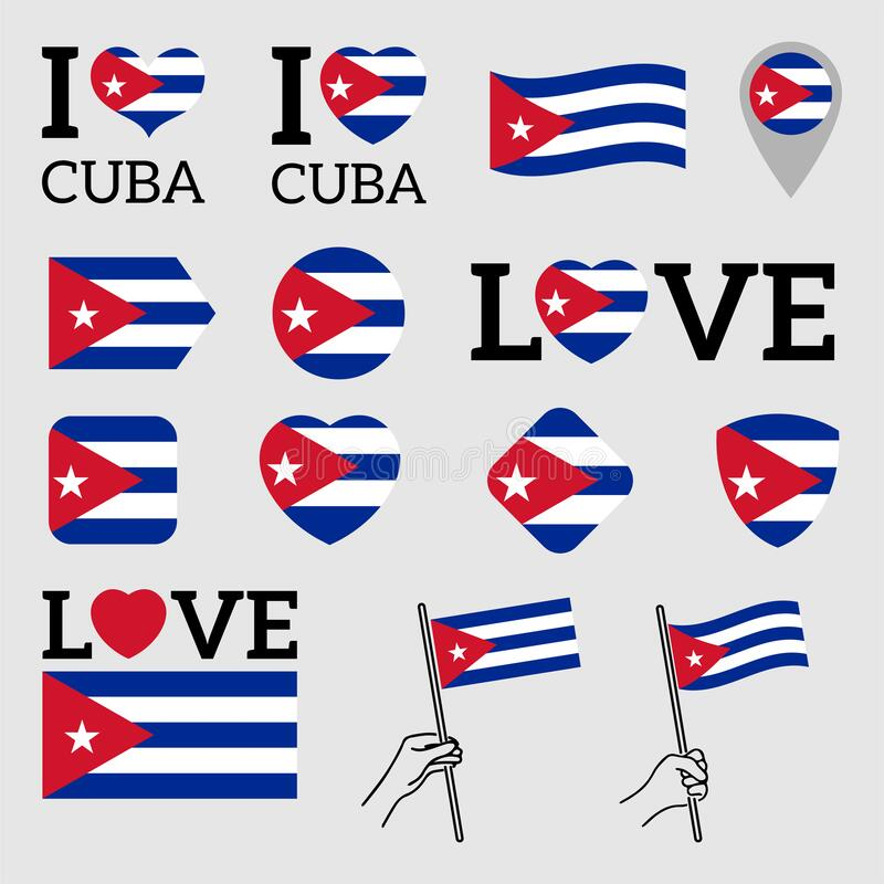 Flag of Cuba. Set of vector Flags. Flag of Cuba. Set of Vector Flags of Various Shapes. I Love Cuba. EPS Illustration. Isolated Background vector illustration