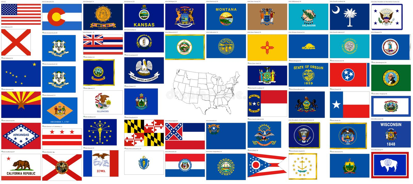 Flags of the states of USA. Over 50 flags of each of the states of the United States