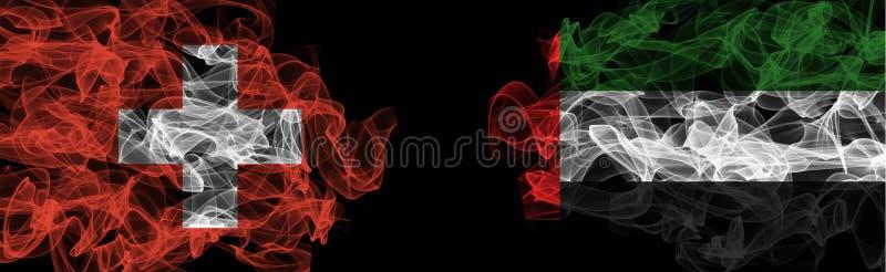 Flags of Switzerland and UAE on Black background, Switzerland vs United Arab Emirates Smoke Flags. Flag on Black background royalty free stock photo