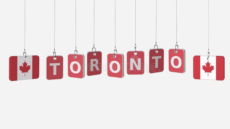 Flags of CANADA and Toronto text on hanging plates. 3D rendering. Flags and text on hanging plates royalty free illustration