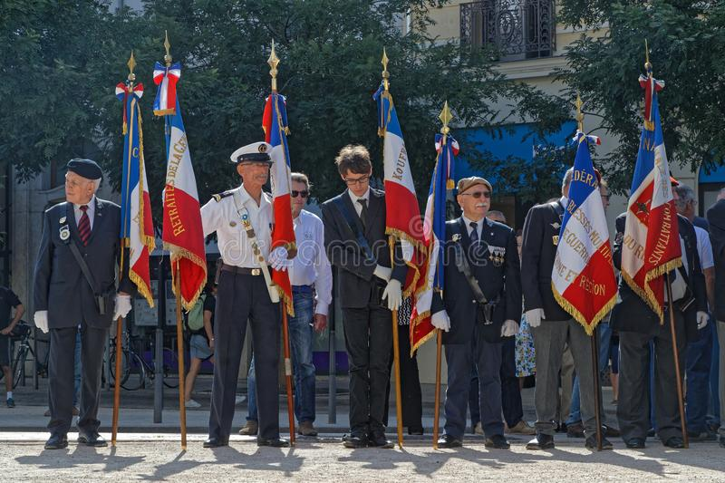 Flags for the 75th anniversary of Liberation of Lyon royalty free stock images