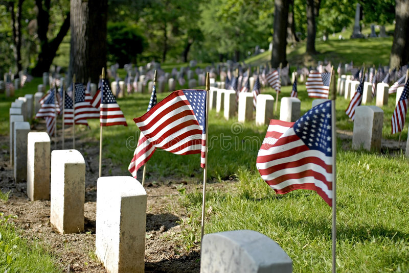 Flags and Tombstones royalty free stock photography